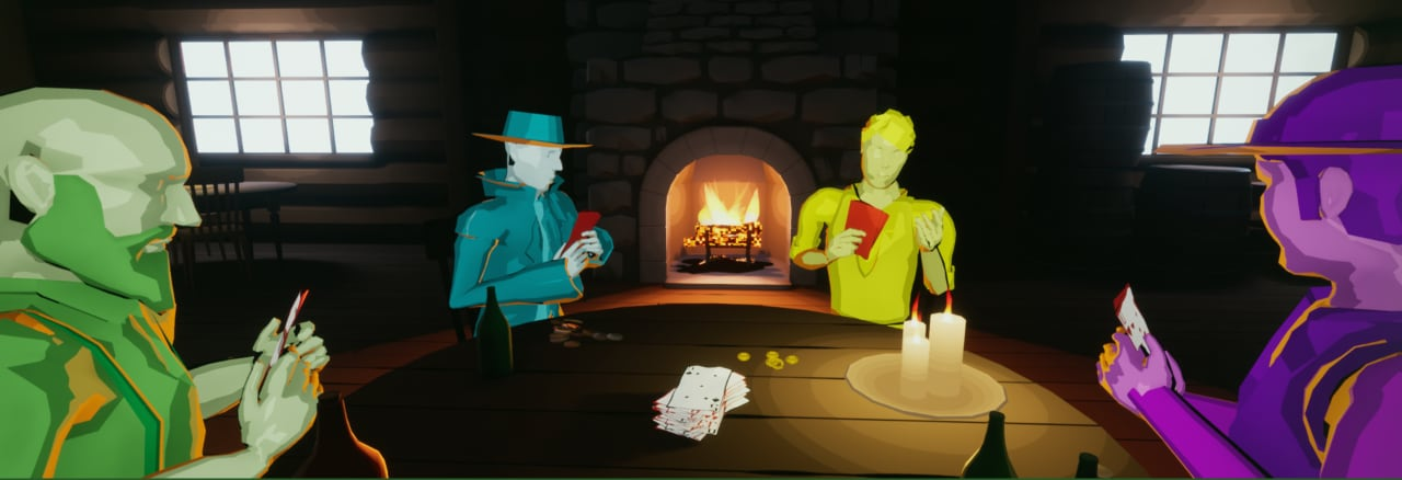 Some of the cast, playing poker. (Once Upon a Crime in the West)