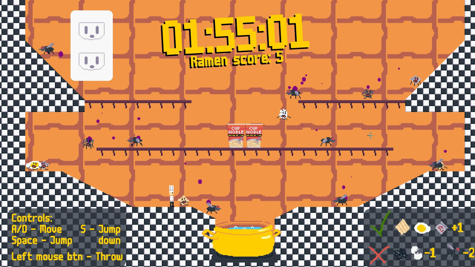 A screenshot of the main gameplay of Ramen Rave, showing a timer, ramen, eggs, and flavor packers.