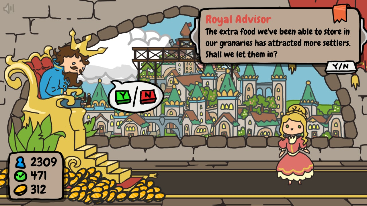 Sort the Court screenshot, showing the king speaking to his royal advisors.