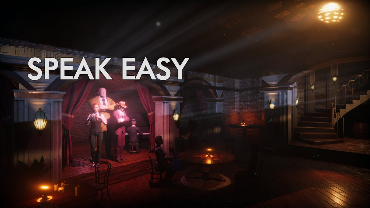 The title card of Speak Easy, showing the characters, and art deco style.