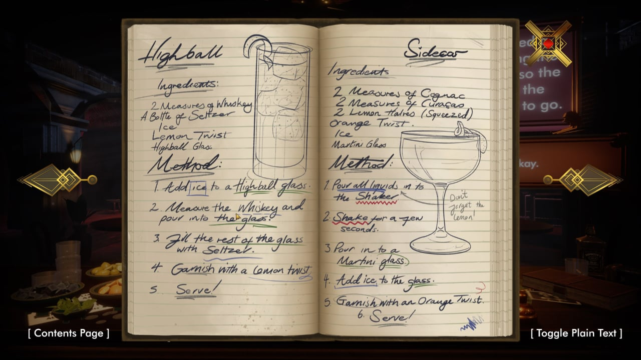 Ruth's Recipe Book in Speak Easy, featuring elegant hand-drawn art