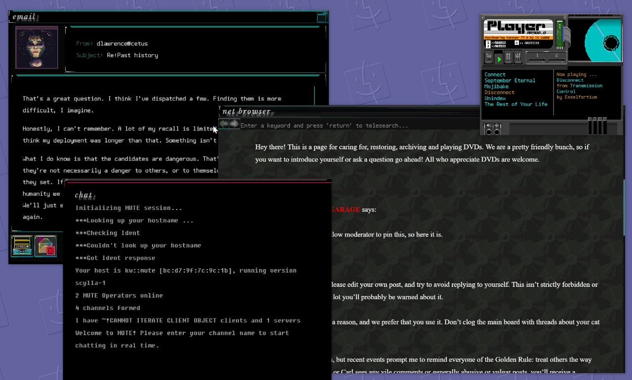 A screenshot of a desktop while playing Subserial Network, depicting the chat, email, browser, and music player.