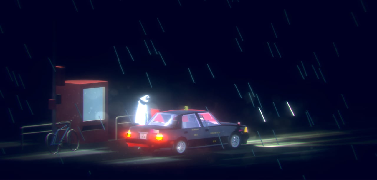 Screenshot of Bird of Passage, which depicts the ghost standing, preparing to enter a taxi, on a Tokyo street.
