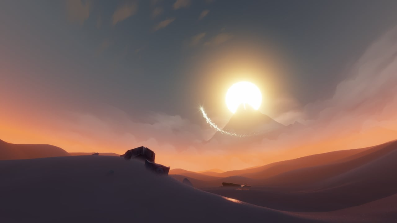A screenshot of the third stage in journey, with mechanical parts embedded in the sand.