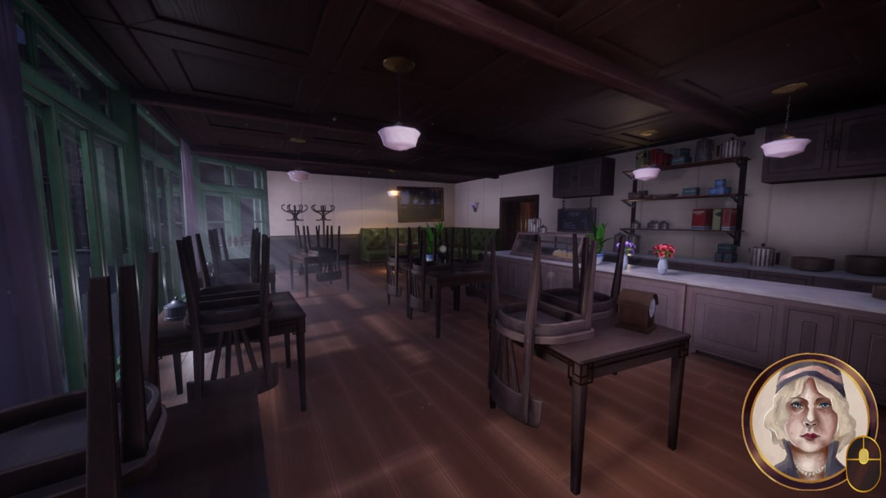 Screenshot of the coffee shop in Notebook Detective, before you gain entry to the speakeasy.