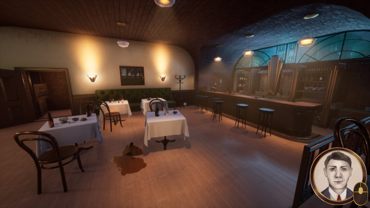 The Speakeasy in Notebook Detective, with a blood stain on the ground.