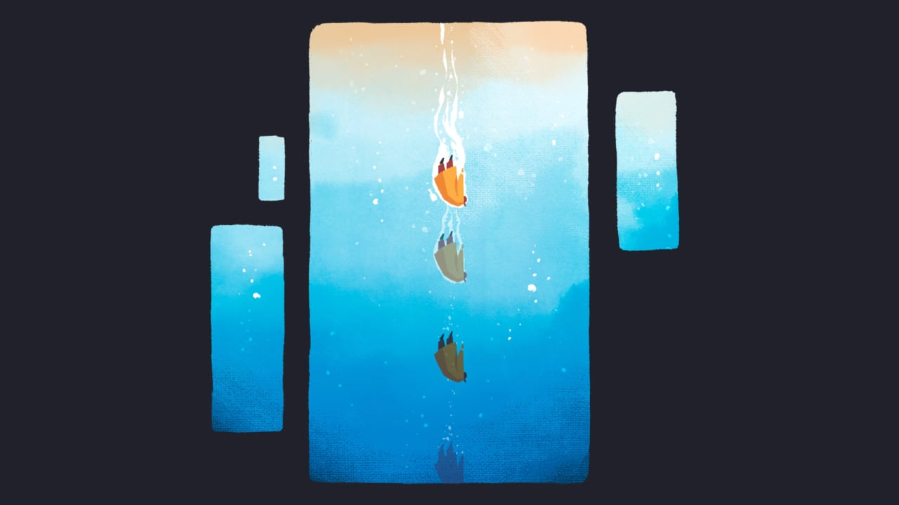 The fisherman falling into water.