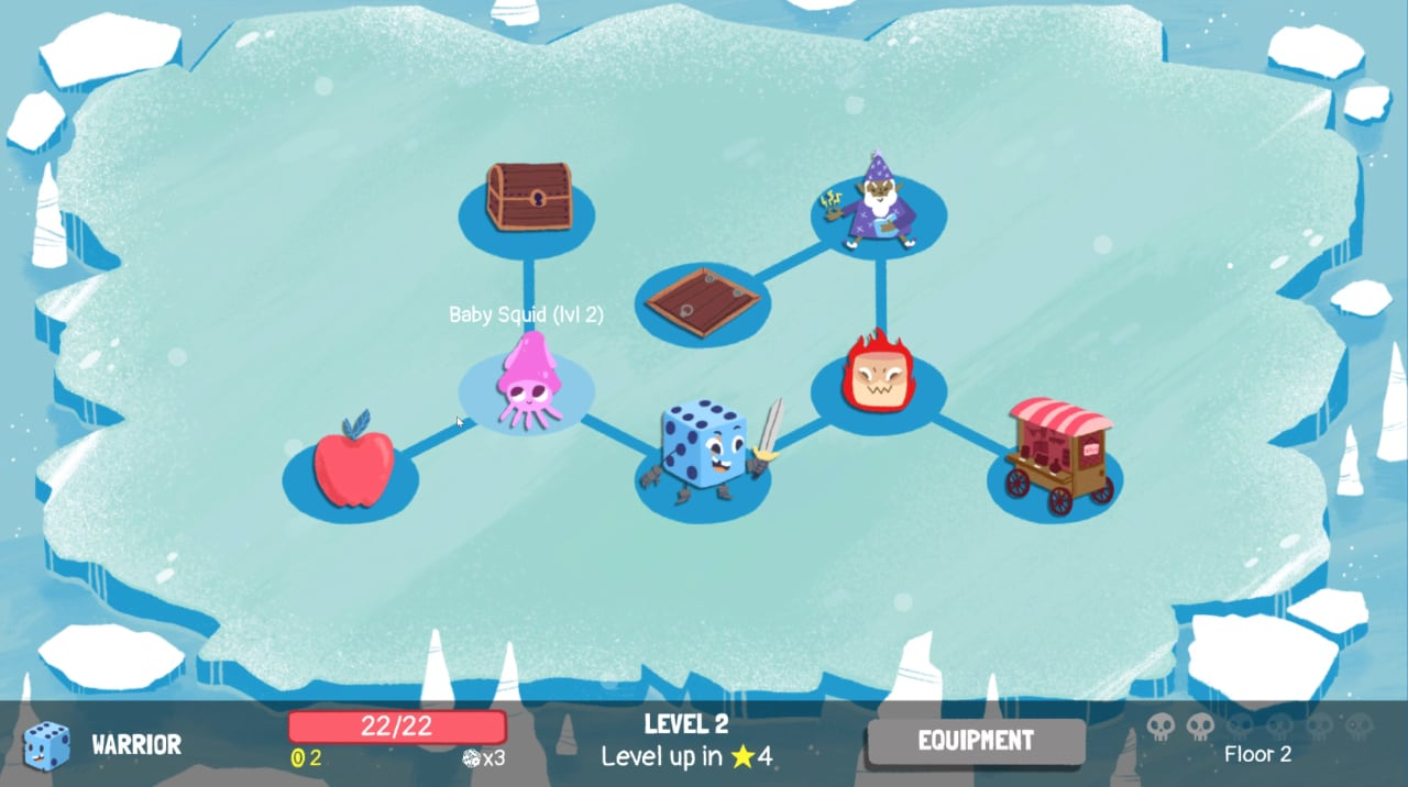 Floor 2 of a Warrior playthrough of Dicey Dungeons, showing the map and enemies.