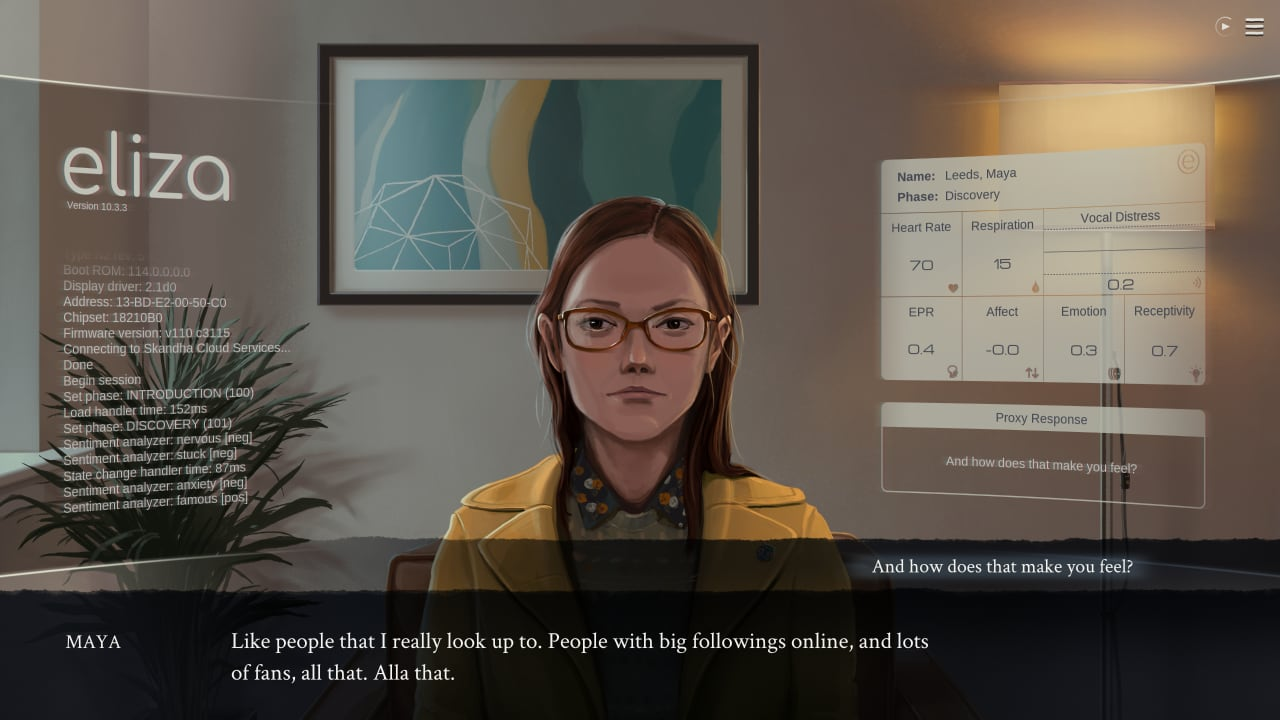 A therapy session is in progress, in the game Eliza—a game which explores parametric AI-based therapy.