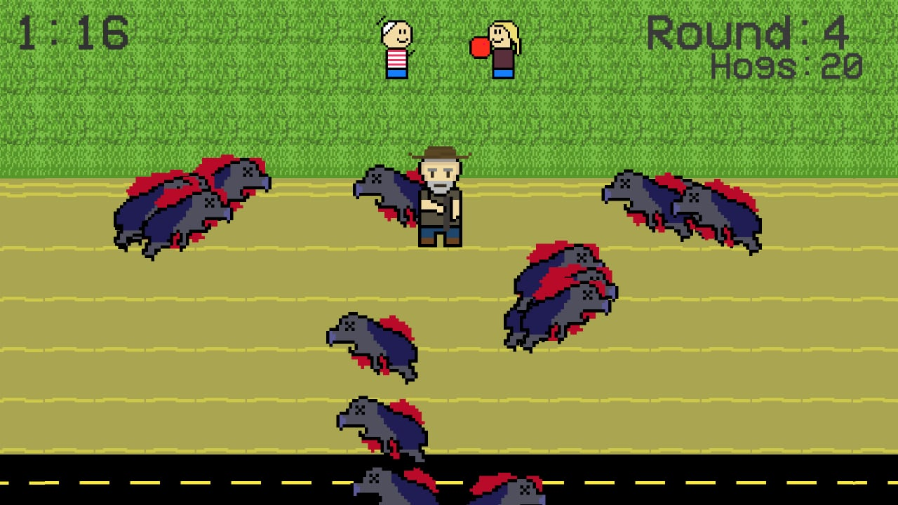 Level 4 in 30-50 Feral Hogs, depicting a pixel art farmer protecting their children.