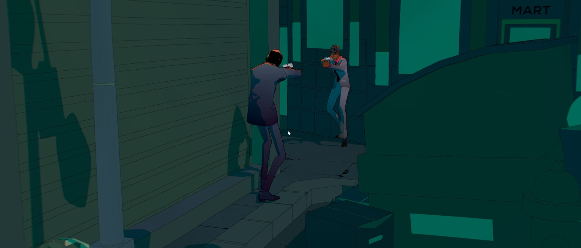 A screenshot of a replay of John Wick Hex, showing John Wick and an enemy pointing their guns at each other.