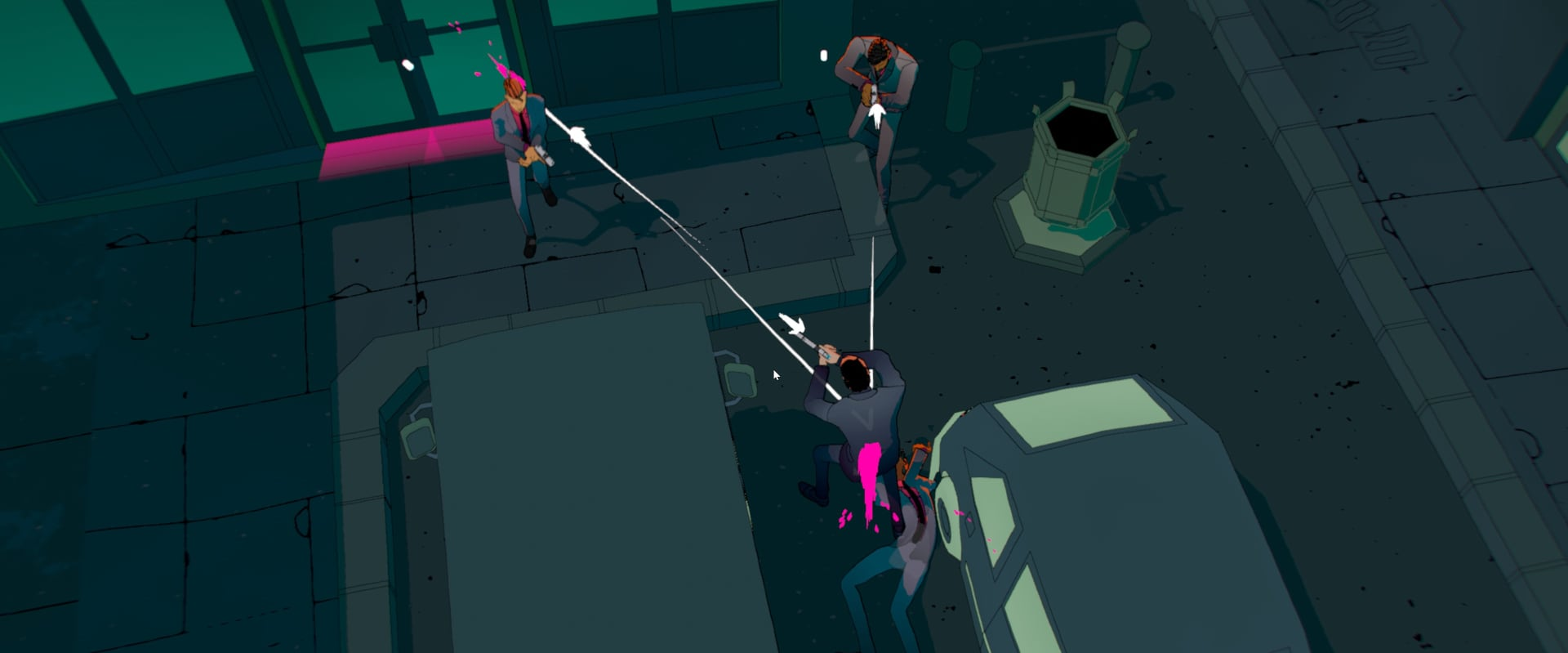 A top down view in the first level of John Wick Hex, showing off the vibrant game style.