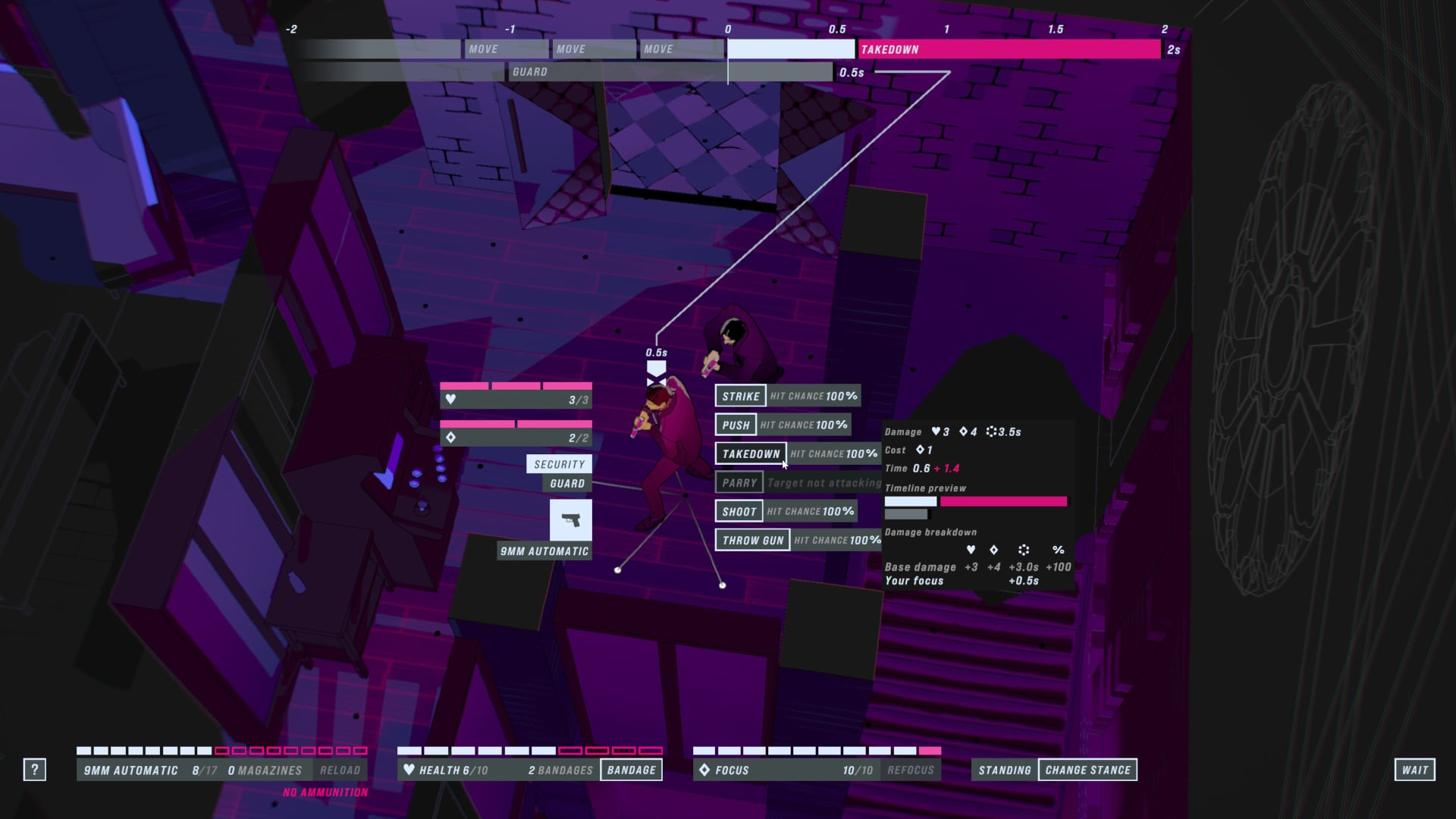 A screenshot of John Wick Hex, showing the timeline and game UI, with a the menu of potential actions open.