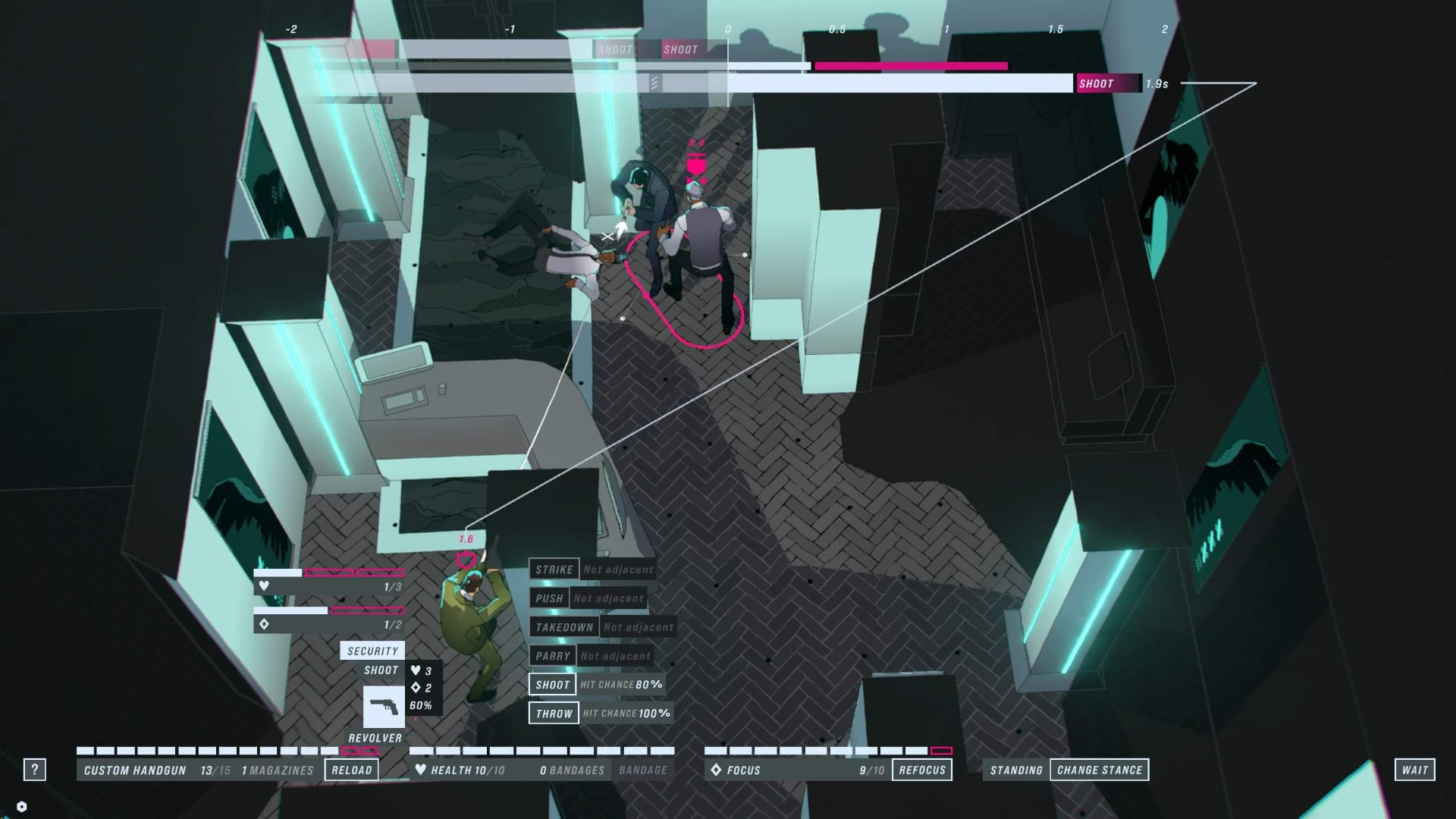 A screenshot of John Wick Hex, showing John Wick in a spot of trouble against a boss.