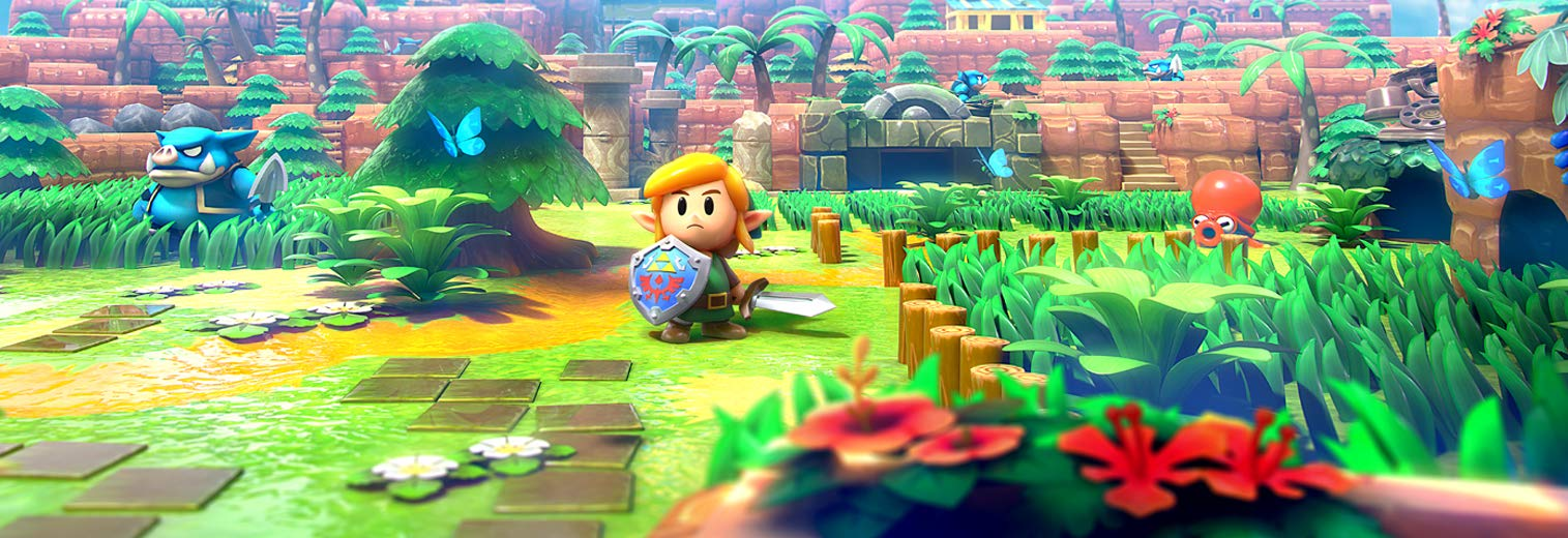 Marketing artwork for Link's Awakening, dramatically composed to depict Link's drive and determination in this adorable new 3d world.