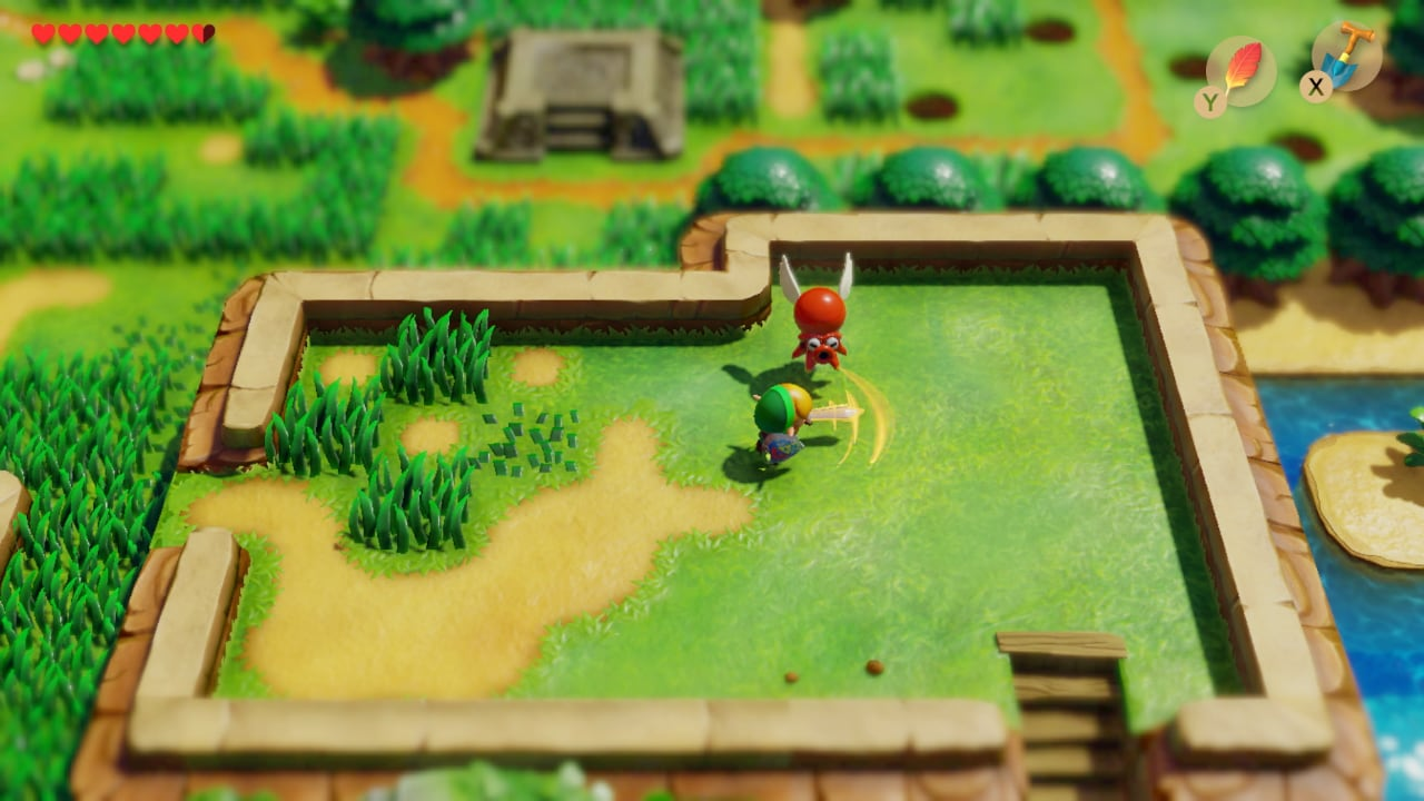 A screenshot showing Link attacking an enemy with a sword in the overworld.