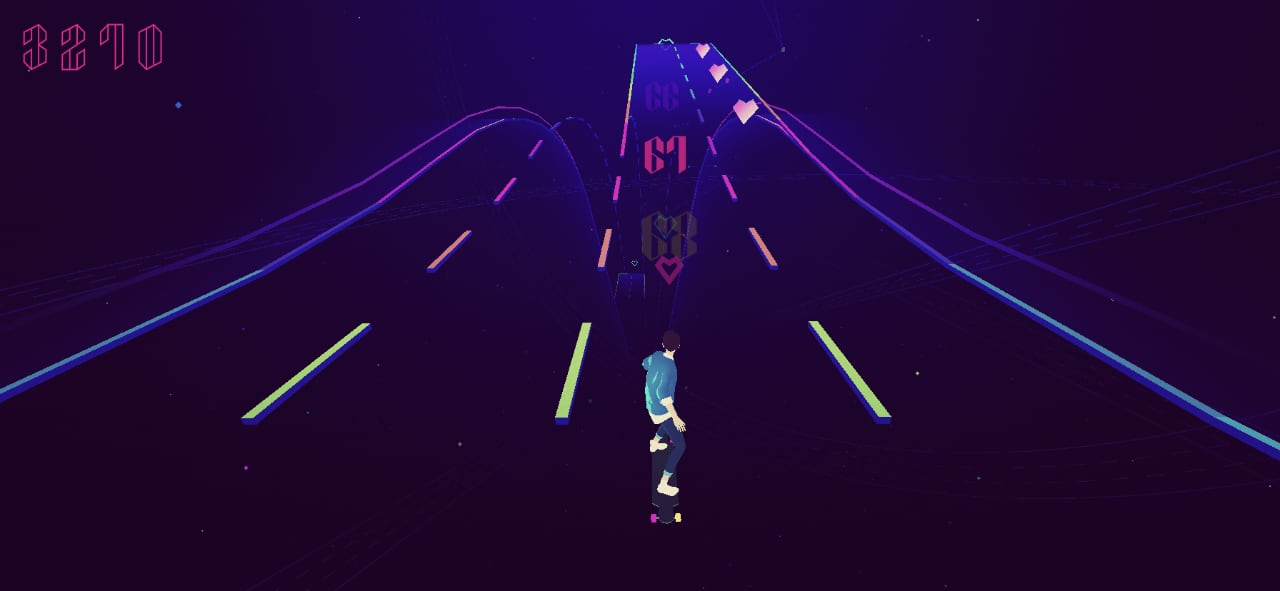 A screenshot of the first level of Sayonara Wild Hearts, Clair De Lune