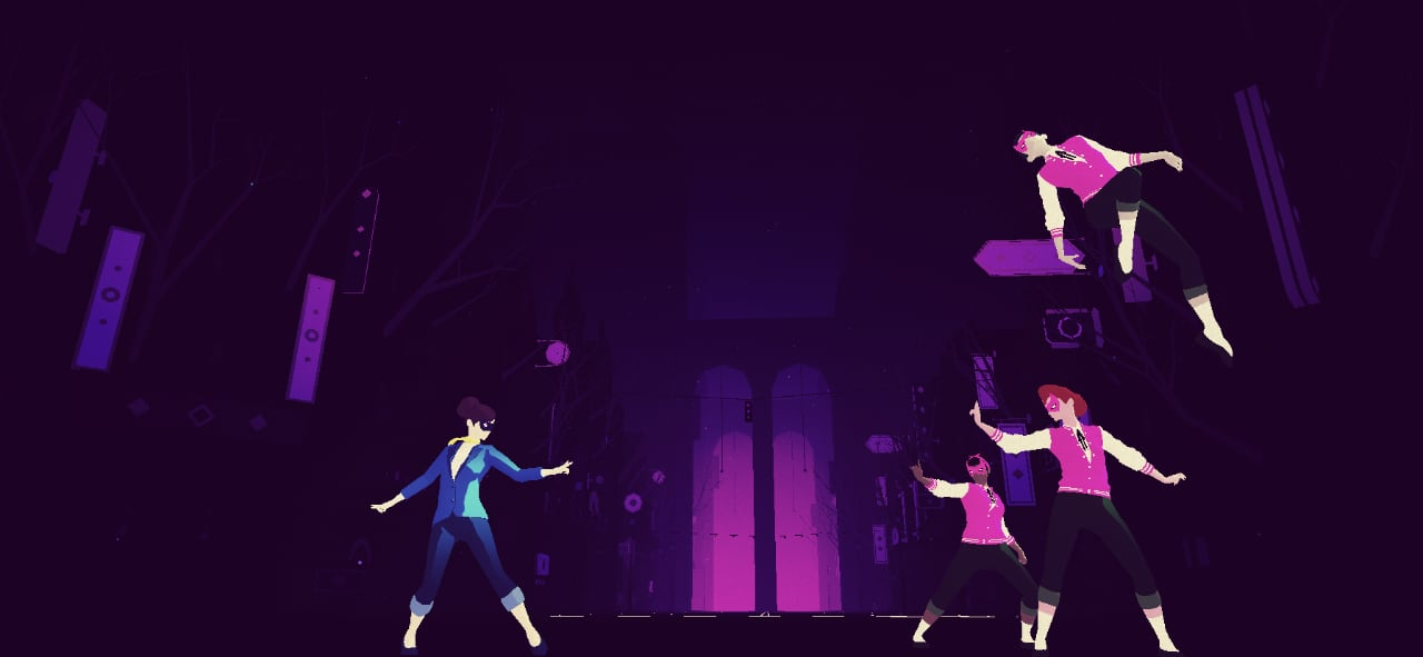 A screenshot of Sayonara Wild Hearts, showing the the Dancing Devils