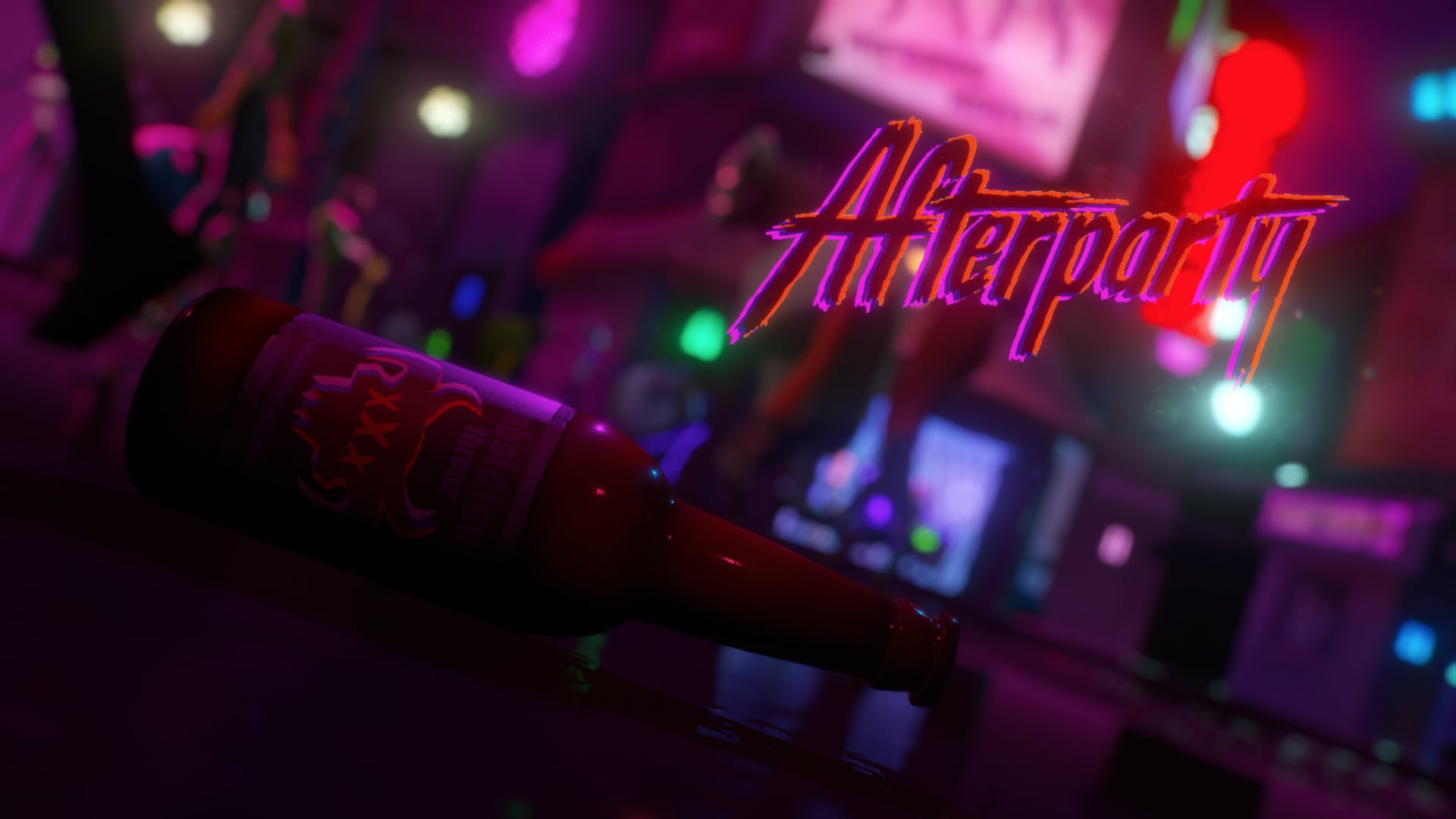 The title screen of Afterparty, depicting Hell with a close up shot of of a bottle of alcohol.