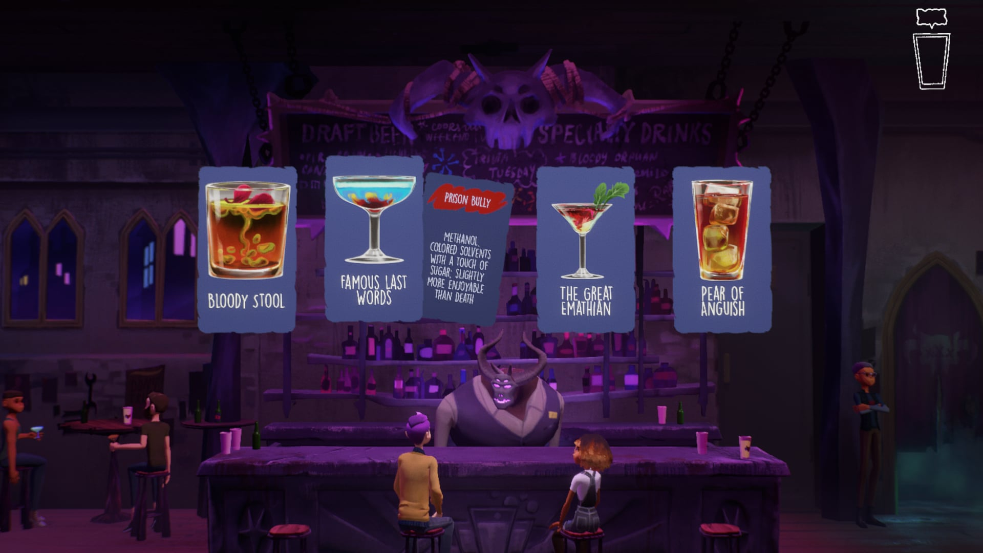 The drink menu at the Schoolyard Strangler, a bar in Afterparty