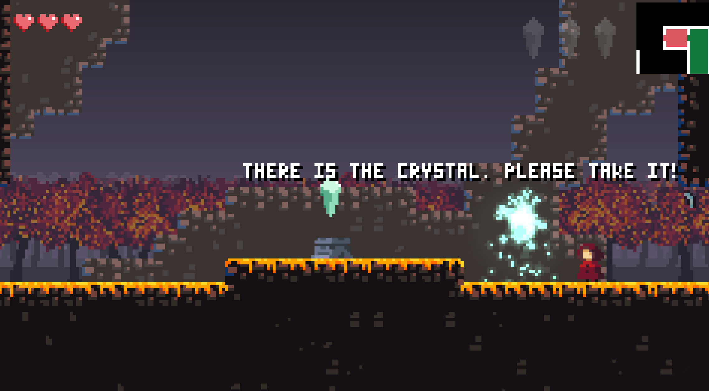 Encountering the first crystal in the game Sealed Bite, which unlocks wall hang powers.