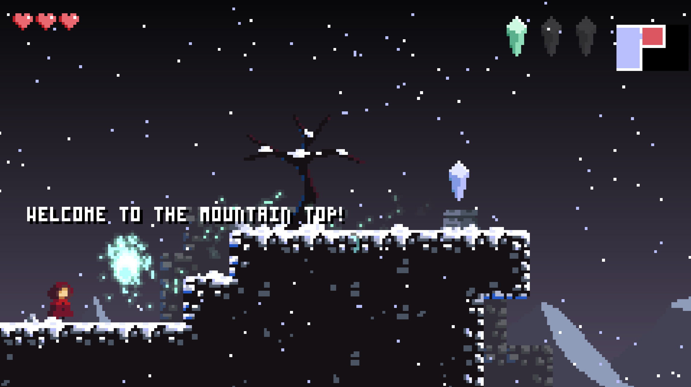 Reaching the mountain peak in Sealed Bite, about to pick up the 2nd crystal...the double jump crystal.