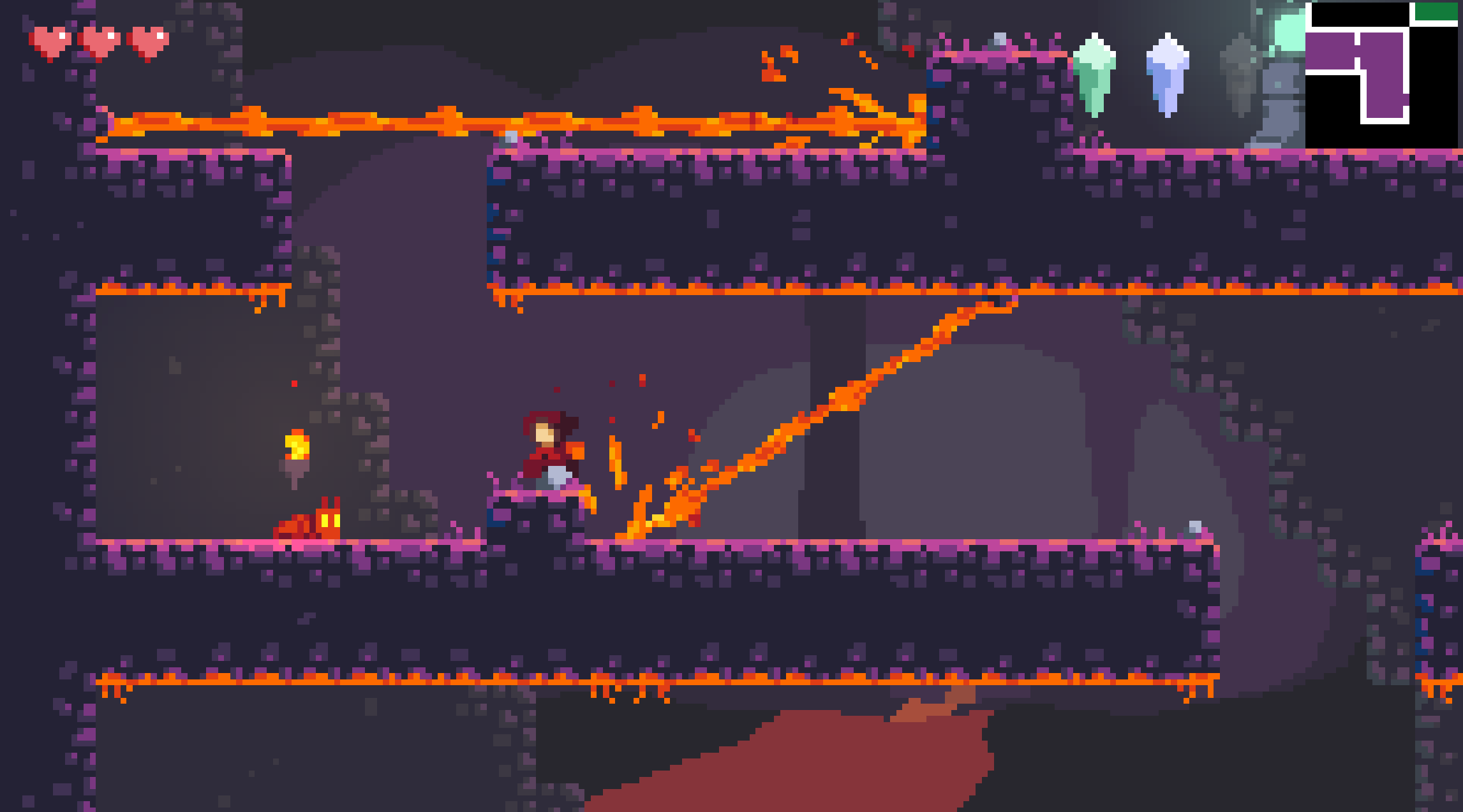 A section of the lava level in Sealed Bite, which encourages slow traversal.